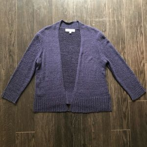 Pointelle Navy Sweater Shrug